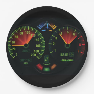 Speedometer Odometer Design Paper Party Plate 9 Inch Paper Plate