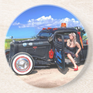 Speeds Towing Rat Rod Truck Pin Up Girl Coaster