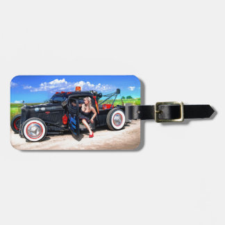 Speeds Towing Rat Rod Truck Pin Up Girl Luggage Tag