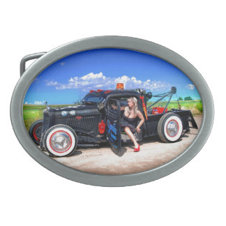 Speeds Towing Rat Rod Truck Pin Up Girl Oval Belt Buckle
