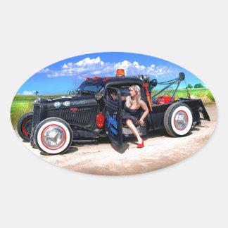 Speeds Towing Rat Rod Truck Pin Up Girl Oval Sticker