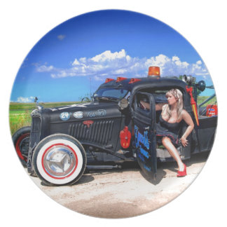 Speeds Towing Rat Rod Truck Pin Up Girl Plate
