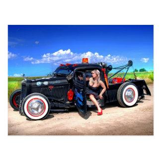 Speeds Towing Rat Rod Truck Pin Up Girl Postcard