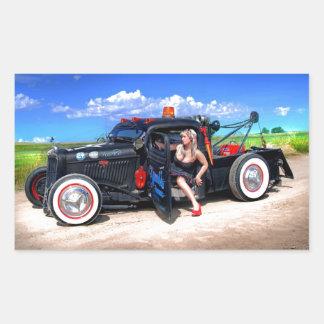 Speeds Towing Rat Rod Truck Pin Up Girl Rectangular Sticker