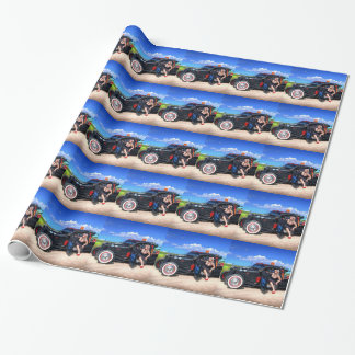 Speeds Towing Rat Rod Truck Pin Up Girl Wrapping Paper