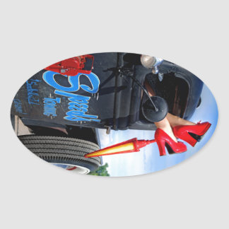 Speeds Towing Rat Rod Truck Rockabilly Betty Oval Sticker