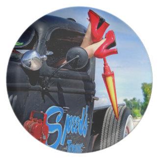 Speeds Towing Rat Rod Truck Rockabilly Betty Pinup Plate