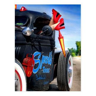 Speeds Towing Rat Rod Truck Rockabilly Betty Postcard