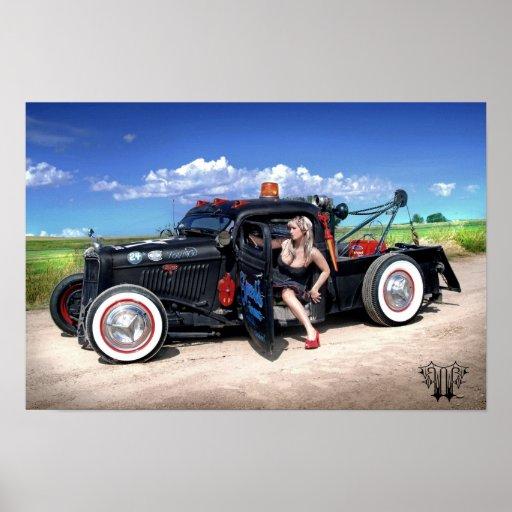 Speed's Towing Rat Rod Wrecker Pin Up Poster