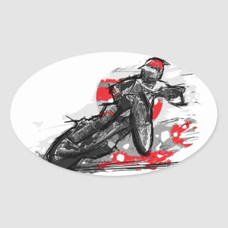 Speedway Flat Track Motorcycle Racer Oval Sticker
