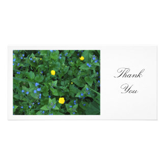 Speedwell and Buttercups - Thank You Personalised Photo Card