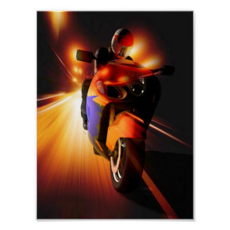 Speedy Biker Mini Poster