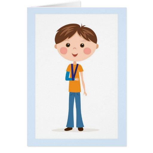 Speedy recovery - Cartoon boy with broken arm card