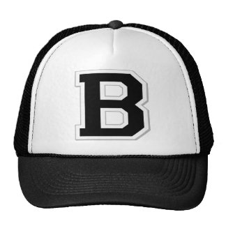 Spell it Out Initial Letter B in Black Ball Cap