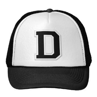 Spell it Out Initial Letter D in Black Ball Cap