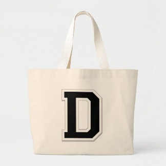Spell it Out Initial Letter D in Black Tote Bag