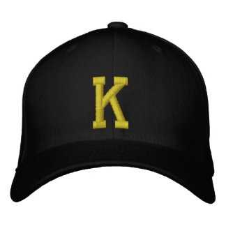 Spell it Out Initial Letter K Ball Cap Embroidered Cap