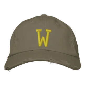 Spell it Out Initial Letter W Ball Cap Embroidered Hats