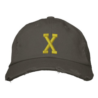 Spell it Out Initial Letter X Ball Cap Embroidered Hat