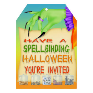 Spellbinding Halloween Witch Hand Tag Style Invite