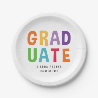 Spelled Out Fun EDITABLE COLOR Graduation Plates