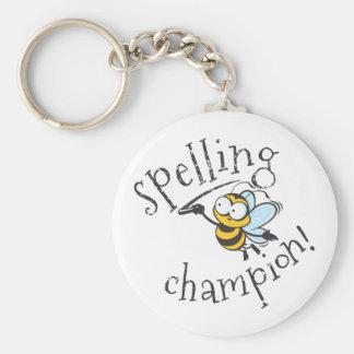 Spelling Bee Champion Basic Round Button Keychain