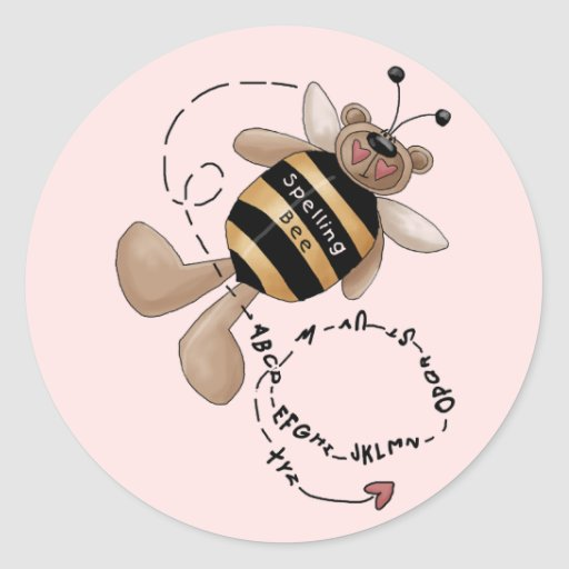 Spelling Bee Tshirts and Gifts Round Stickers