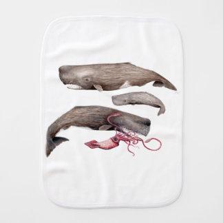 Sperm whale trio burp cloth