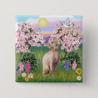Sphynx Cat 1- Blossoms 15 Cm Square Badge