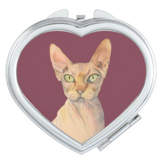 Sphynx Cat Watercolor Portrait Makeup Mirror