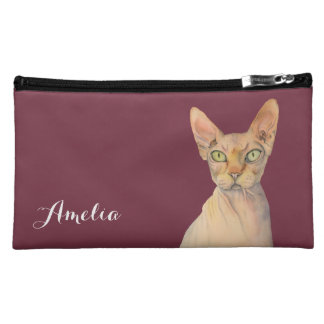 Sphynx Cat Watercolor Portrait with Name Makeup Bag