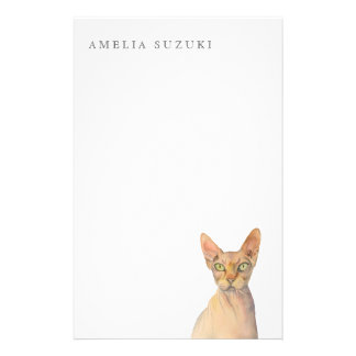 Sphynx Cat Watercolor Portrait with Name Stationery