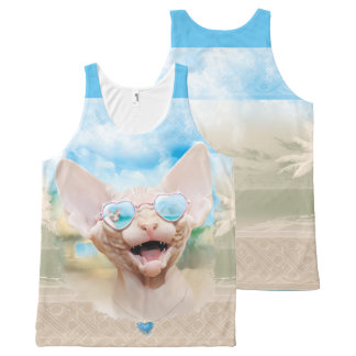 Sphynx kitten in sunglasses All-Over print tank top