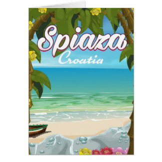 Spiaza Croatia beach vacation poster Card
