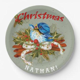"SPICE  BIRD CHRISTMAS CARTOON Paper Plates 9"""