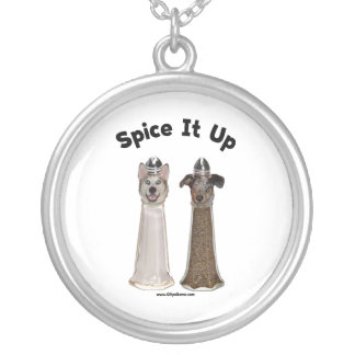 Spice It Up Salt and Pepper Dogs Round Pendant Necklace