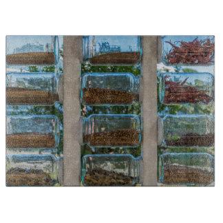 Spice jars glass cutting board