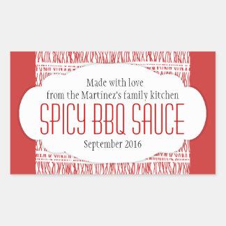 Spicy BBQ sauce red food label sticker