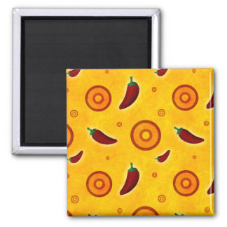 Spicy Hot Southwest Chili Pepper Pattern Magnet