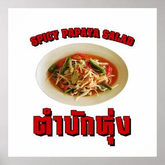 Spicy Papaya Salad Tam Mak Hung Isaan Dialect Posters