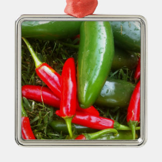 Spicy Peppers Silver-Colored Square Decoration