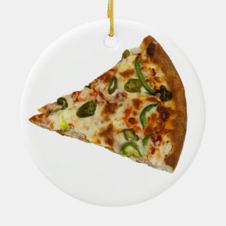 Spicy Pizza Slice Ceramic Round Christmas Ornament