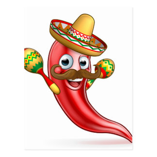 Spicy Red Pepper Mexican Cartoon Mascot Postcard