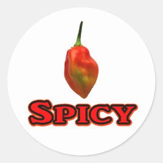 Spicy Single Habanero Hot Pepper Design Classic Round Sticker