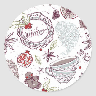 Spicy Winter Theme Pattern Classic Round Sticker
