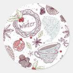 Spicy Winter Theme Pattern Round Sticker
