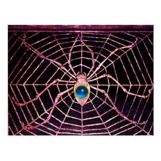SPIDER AND WEB Blue Sapphire Black Post Cards