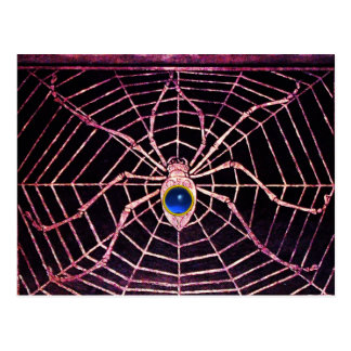 SPIDER AND WEB Blue Sapphire Black Post Card