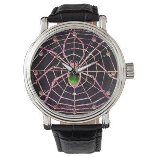 SPIDER AND WEB Green Emerald Pink Gems ,Black Watch