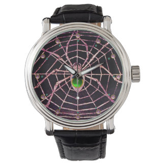 SPIDER AND WEB Green Emerald Pink Gems ,Black Watches